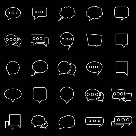 talk show: Speech Bubble line icons on black background, stock vector