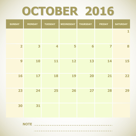 calendar october: Calendar October 2016 week starts Sunday, stock vector