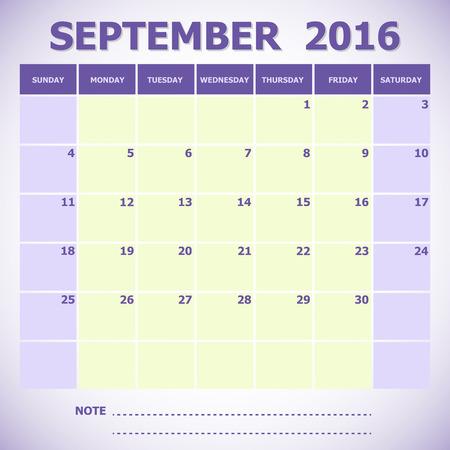calendar september: Calendar September 2016 week starts Sunday, stock vector