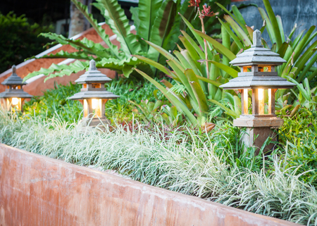 landscape: Wooden lamp decorated in garden, stock photo Stock Photo