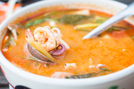thai orchid: Thai spicy soup with seafood, stock photo