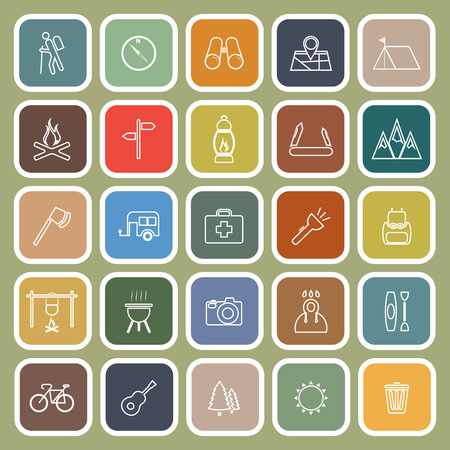 gas barbecue: Trekking line flat icons on green background, stock vector Illustration