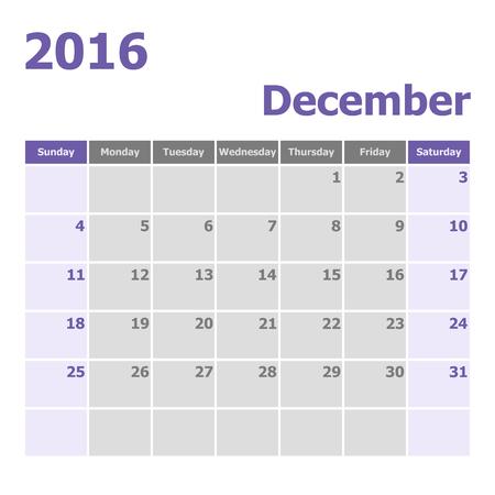 calendario diciembre: Calendario de diciembre de 2016 se inicia la semana de domingo, el vector stock Vectores