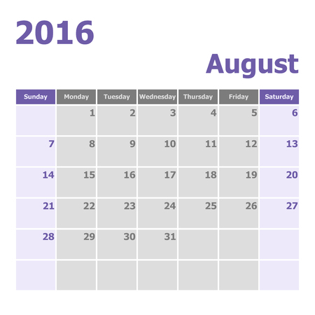 starts: Calendar August 2016 week starts from Sunday, stock vector