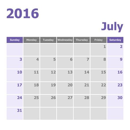 week: Calendar July 2016 week starts from Sunday, stock vector