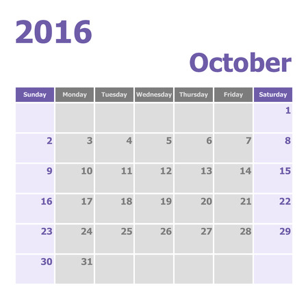 calendar october: Calendar October 2016 week starts from Sunday, stock vector