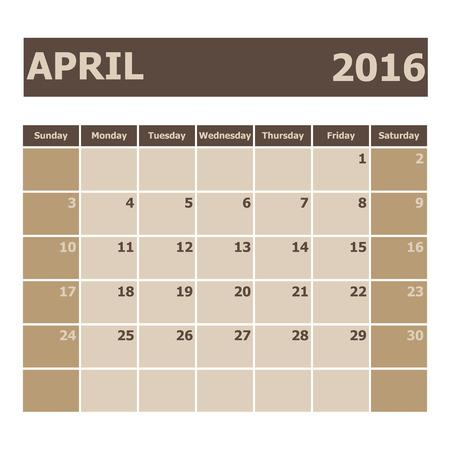 scheduler: Calendar April 2016, week starts from Sunday, stock vector
