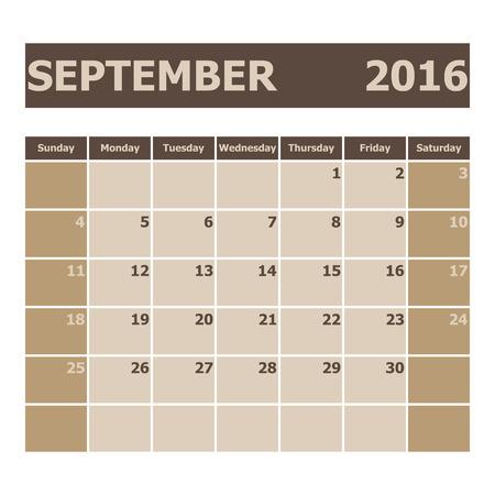 week: Calendar September 2016, week starts from Sunday, stock vector