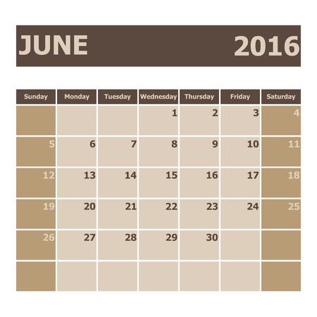 scheduler: Calendar June 2016, week starts from Sunday, stock vector