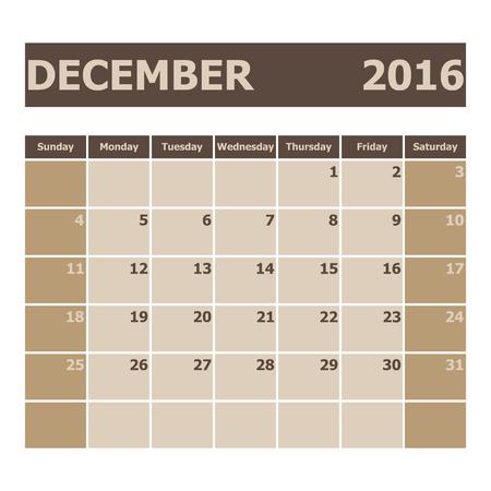 week: Calendar December 2016, week starts from Sunday, stock vector