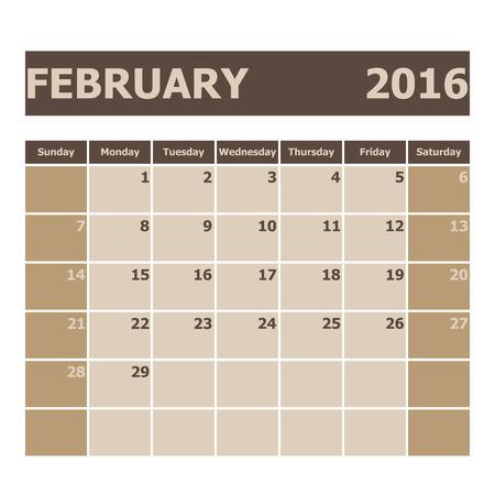 agenda year planner: Calendar February 2016, week starts from Sunday, stock vector Illustration