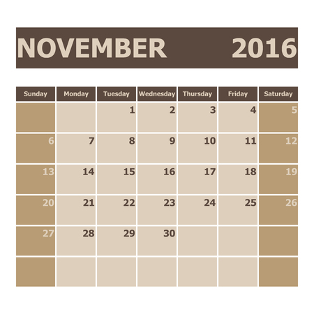 week: Calendar November 2016, week starts from Sunday, stock vector