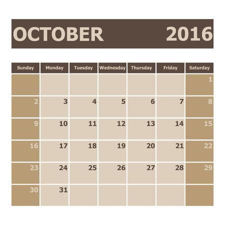 calendar october: Calendar October 2016, week starts from Sunday, stock vector Illustration