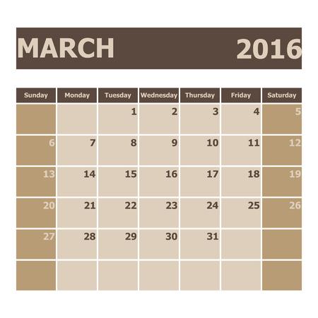 scheduler: Calendar March 2016, week starts from Sunday, stock vector Illustration