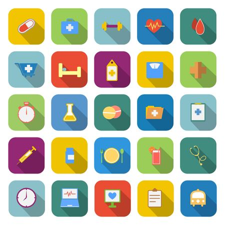sleeping pills: Health color icons with long shadow on white background Illustration