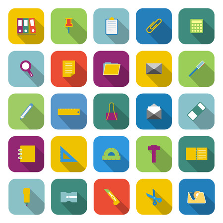 hilight: Stationery color icons with long shadow on white background