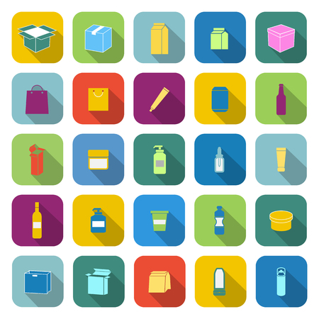 plasticity: Packaging color icons with long shadow on white background