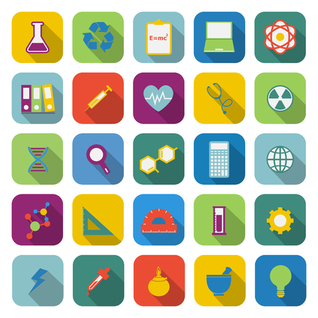 neutrons: Science color icons with long shadow on white background Illustration