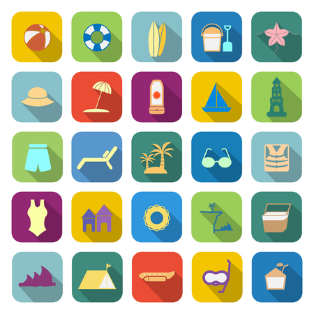 sun block: Beach color icons with long shadow on white background Illustration