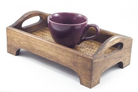 Coffee cup on wooden tray isolated on white background, stock photo Stock Photo