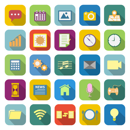 Application color icons with long shadow on white background