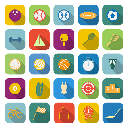 Sport color icons with long shadow on white background Illustration