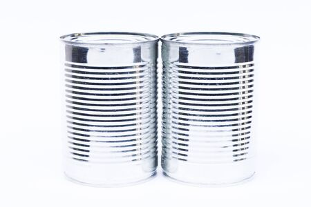tinned goods: Close-up tin can isolated on white background, stock photo