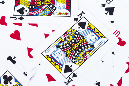 cheater: Close up playing cards background, stock photo