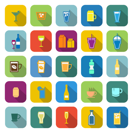 spirituous: Drink color icons with long shadow on white background