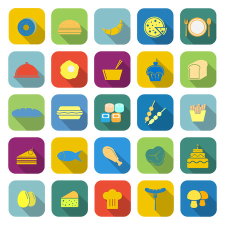 continental food: Food color icons with long shadow on white background Illustration