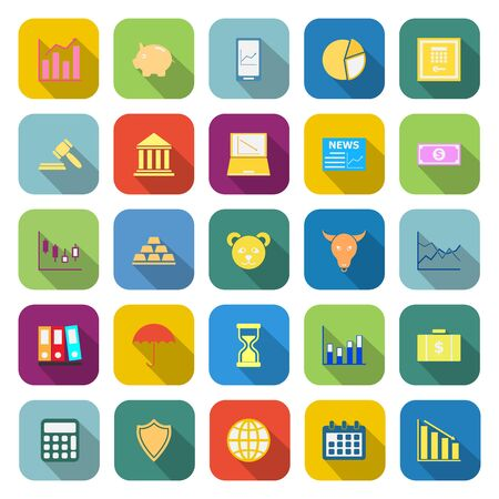 toolbar: Stock market color icons with long shadow on white background Illustration