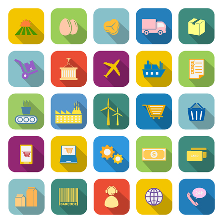 manage transportation: Supply chain color icons with long shadow on white background