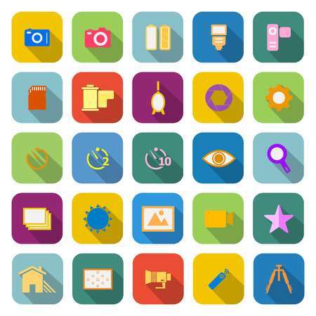 polarizing: Camera color icons with long shadow on white background