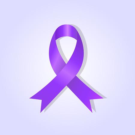 紫色の夕焼けの背景に紫のアウェアネス リボン  イラスト・ベクター素材