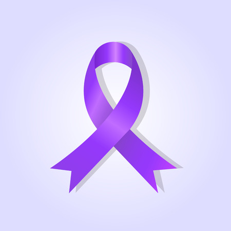 pancreatic cancer: Purple awareness ribbon on purple glow background