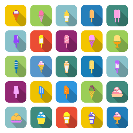 souffle: Ice cream color icons with long shadow on white background Illustration