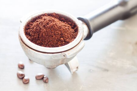 grind: Coffee grind in group with coffee bean, stock photo
