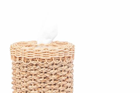 sniffle: Craft weave tissue paper box on white background Stock Photo
