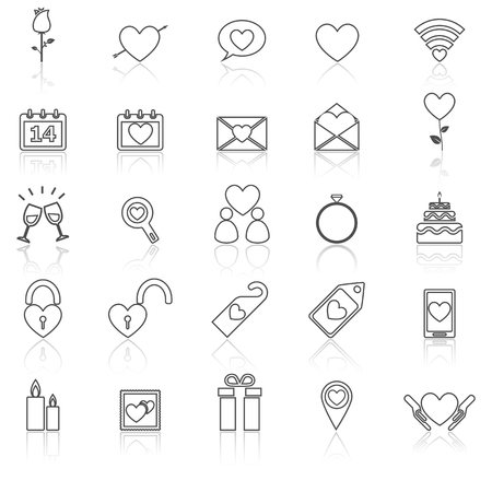 reflect: Valentines day line icons with reflect on white Illustration