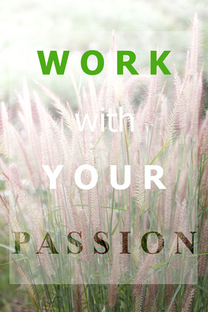 Inspiraional quote of work with your passion on field of grass