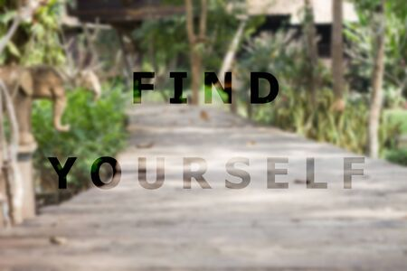 stock quote: Find yourself inspirational quote on garden background, stock photo