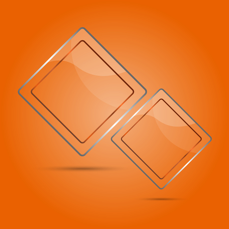 glass panel: Abstract glass panel with copy space on orange background Illustration