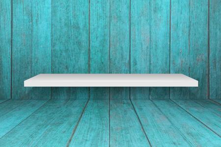 white shelf: White shelf with old blue wooden interior texture background Stock Photo