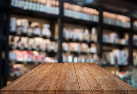 tabletop: Perspective tabletop wooden with blurred cafe background. product display template Stock Photo