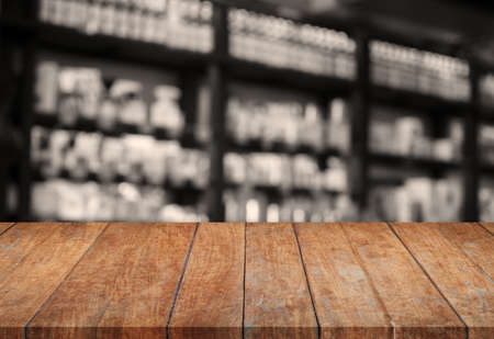 sepia.: Wooden tabletop with sepia blurred background, stock photo Stock Photo