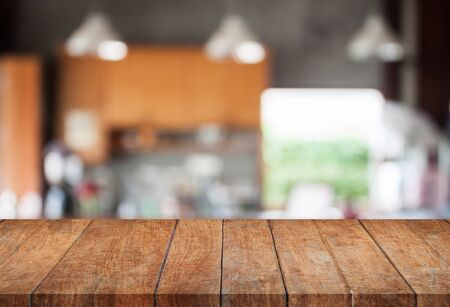 Perspective wooden with abstract blur coffee shop background, stock photo Stock Photo