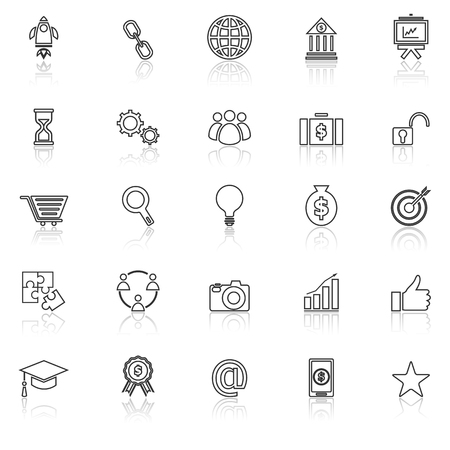 reflect: Start up line icons with reflect on white background