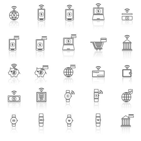 reflect: Fintech line icons with reflect on white background