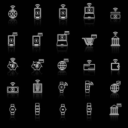 reflect: Fintech line icons with reflect on black background