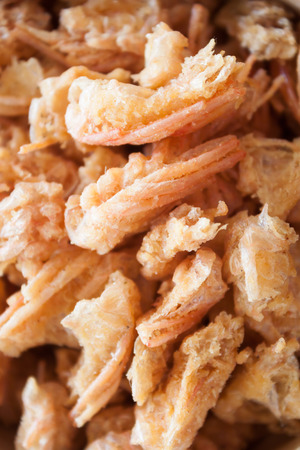 chins: Closeup fried shrimp chins snack, stock photo